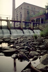 Walter Baker Dam, at Lower Mills, on the Neponset River presents an obstacle to fish migration.