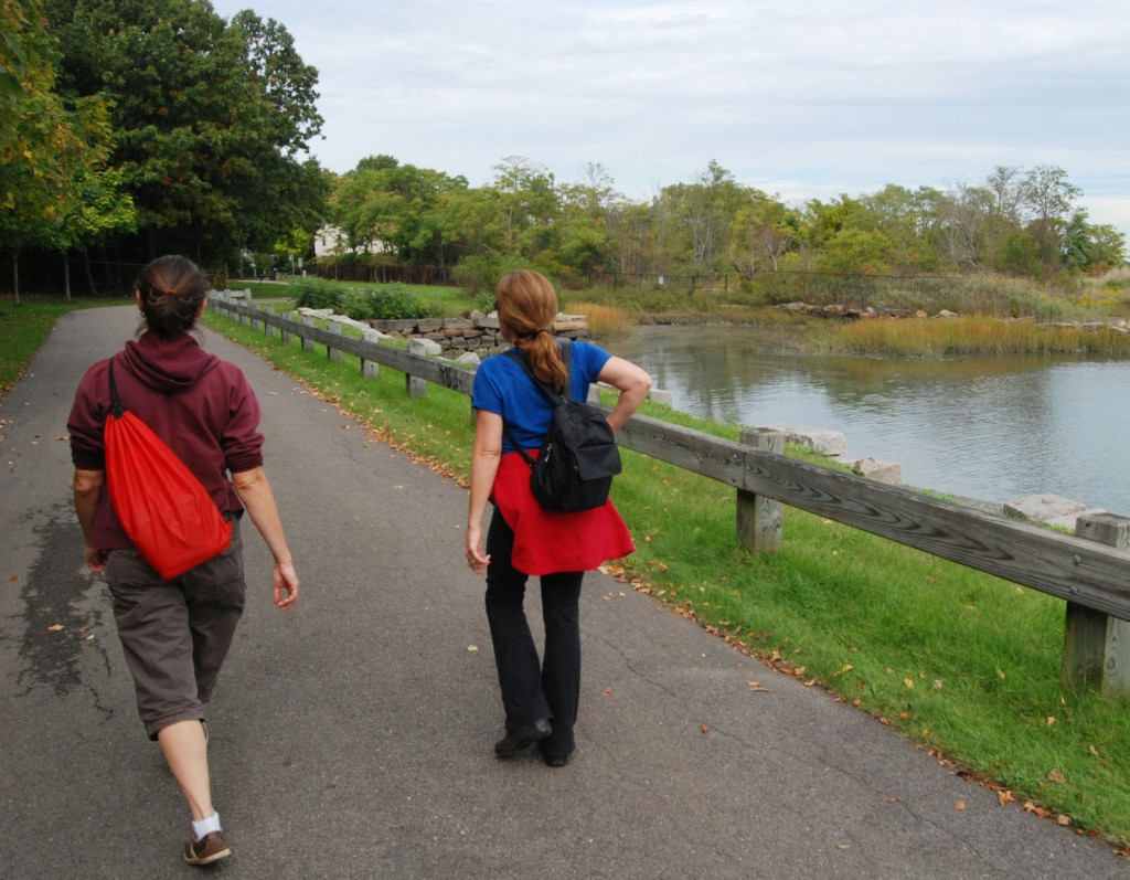Strolling the Neponset Greenway in Dorchester, along Neponset Estuary, October 2012. Photo by Tom Palmer.