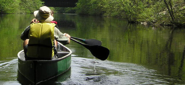 Paddling downstream along Neponset River, 2003.