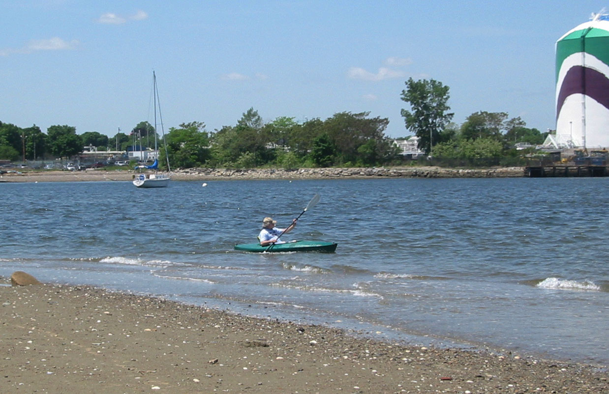 Paddling the estuary by Squantum Point Park, May 2007.