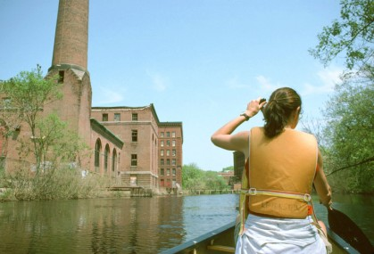 Approaching the old Baker Chocolate factory buildings along the Lower Neponset River, May 2004. Photo by Tom Palmer.