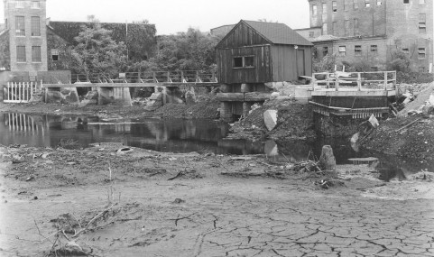 Tileston & Hollingsworth Dam, post-Hurricane Diane. Photo by Barbier, 1956.