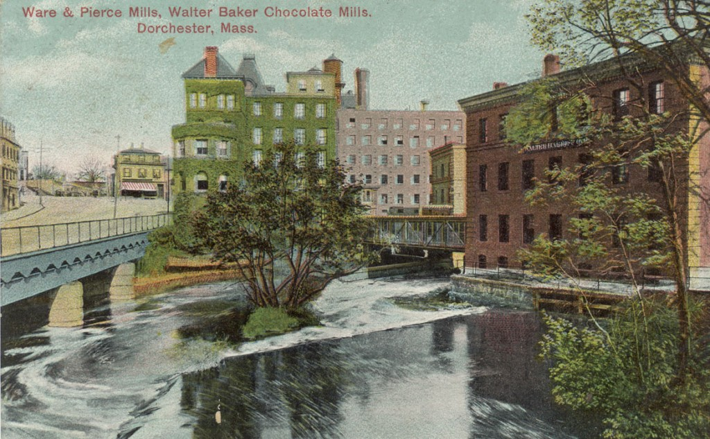 Historical postcard depiction of Walter Baker Chocolate factory buildings at Lower Mills, on Neponset River. Collection: Doug Wynn.