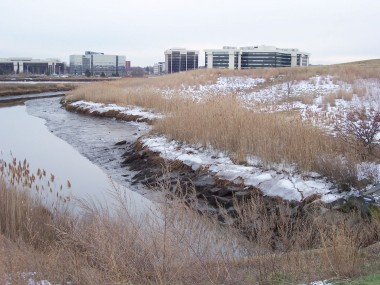 Sagamore Creek flows into Neponset Estuary at Pope John Paul II Park, Dorchester.