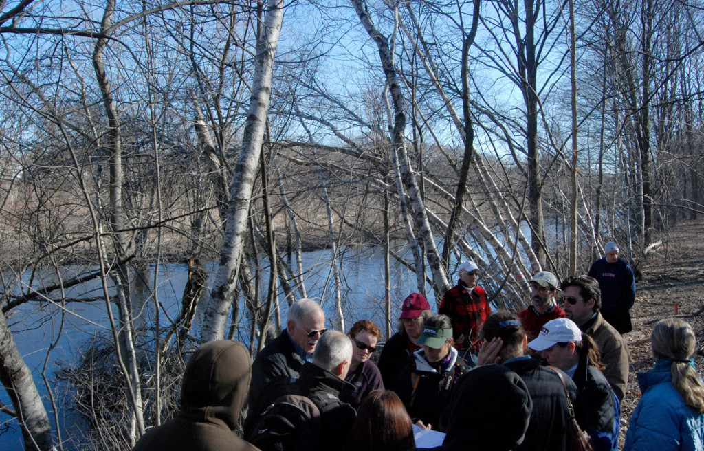 Milton Conservation Commission tours Neponset River path site 3/30/13
