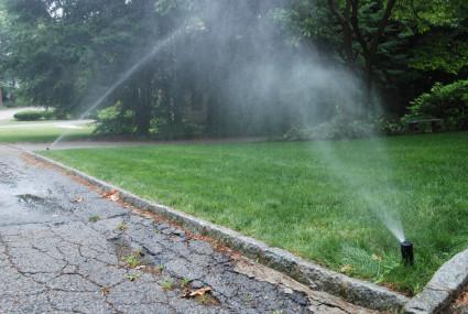Sprinklers in the wind.