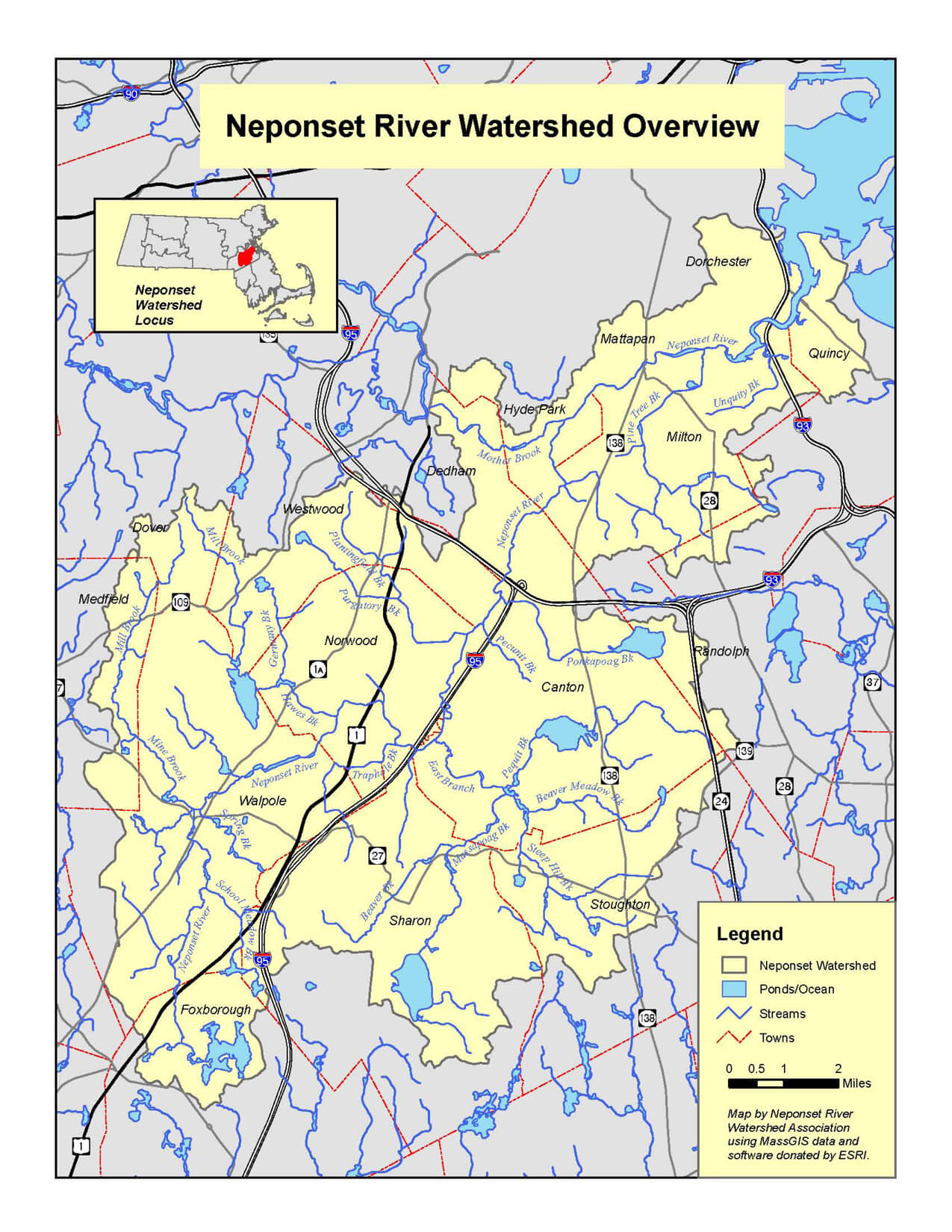 Neponset Watershed Map Neponset River Watershed Association