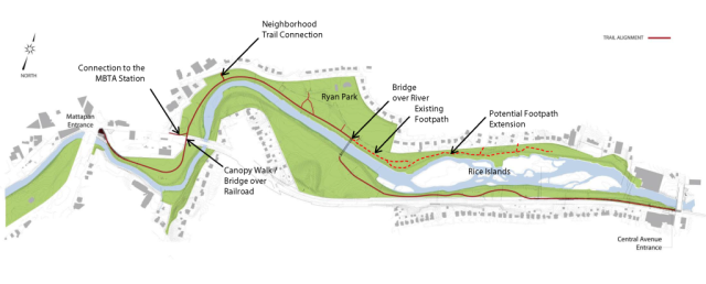 Map of Phase 2 Neponset Greeway