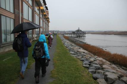rainy riverwalk event Dec. 2104 gazebo