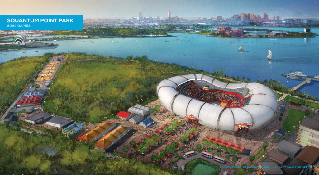 Rendering of beach volleyball at Squantum Point by Boston 2024.