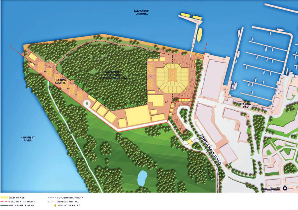 Conceptual plan for beach volleyball at Squantum Point Park by Boston 2024.