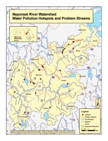 Map of Neponset Watershed water pollution hotspots. Click image to zoom in.