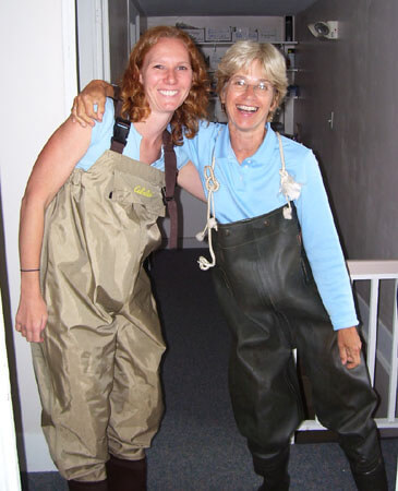 "Kristina (left) and former CWMN Coordinator Laura Hallowell model the latest in ""river chic"" a few years ago"