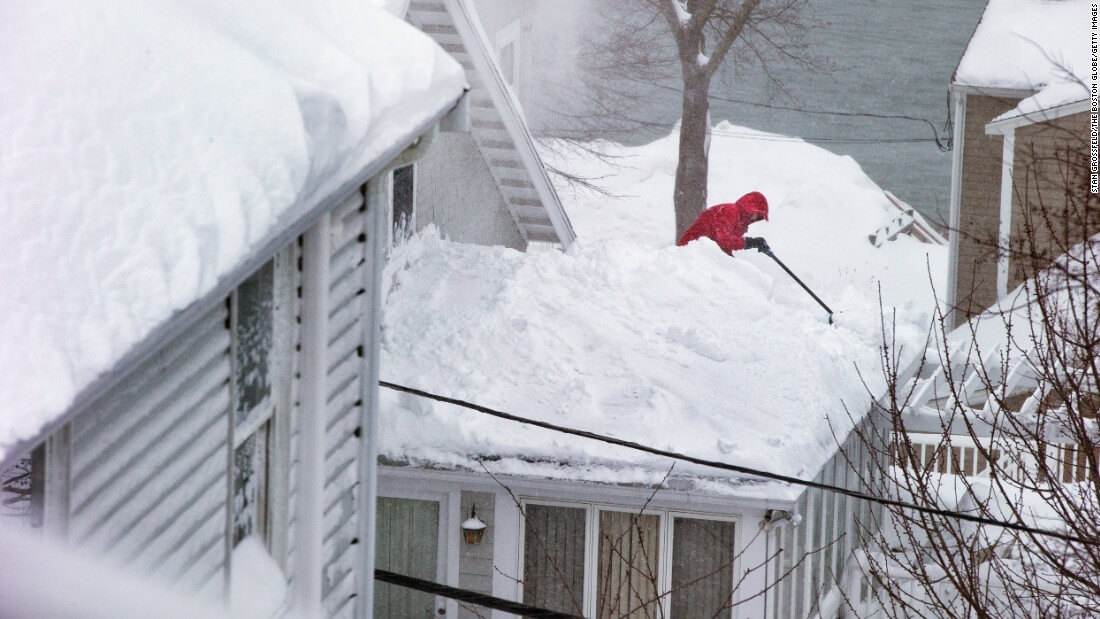 Shoveling Snow Off Roof In Quincy